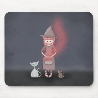 Whimsical Good Witch in Girly Pink and Grey Mouse Pads