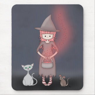 Whimsical Good Witch in Girly Pink and Grey Mousepads