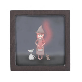 Whimsical Good Witch in Girly Pink and Grey Premium Trinket Box