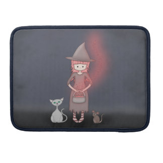 Whimsical Good Witch in Girly Pink and Grey Sleeve For MacBooks