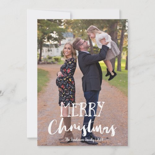 Whimsical Gray and White Photo Merry Christmas Holiday Card