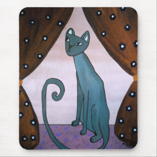 WHIMSICAL GRAY CAT MOUSE PAD