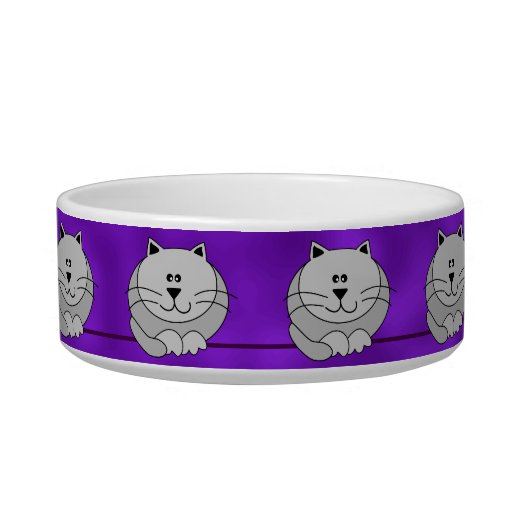 Whimsical Gray Cute Fat Cats on Purple Pet Bowl
