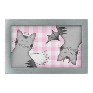 Whimsical gray tabby cats on pink gingham rectangular belt buckle
