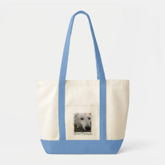 Whimsical Great Pyrenees blue bag