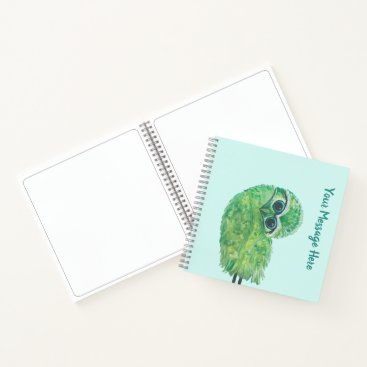 Beach Themed Whimsical Green and Blue Burrowing Owl Coastal Art Notebook