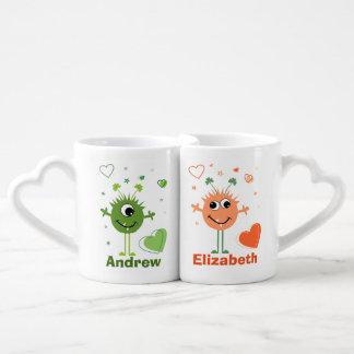 Whimsical Green and Orange Monster Aliens Coffee Mug Set
