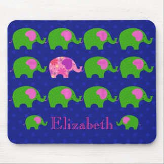 Whimsical Green and Pink Elephants Mousepad