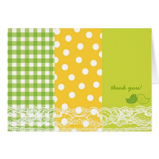 Whimsical Green Baby Chicks Lace Thank You Card