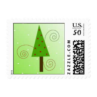 Whimsical Green Christmas Tree Postage