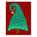Whimsical Green Christmas Tree Postcard