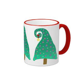 Whimsical Green Christmas Tree Ringer Mug