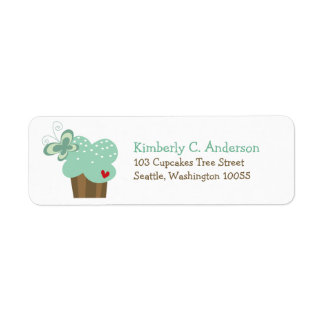 Whimsical Green Cupcake Butterfly Girl Birthday Return Address Label