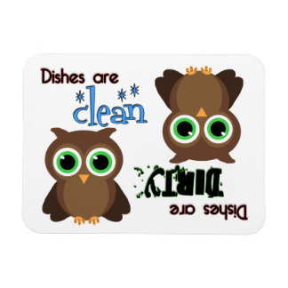Whimsical Green Eyed Brown Owl Dishwasher Magnet