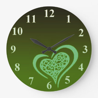 Whimsical Green Heart Wall Clock by Janz