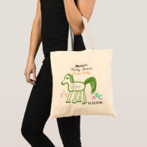 Whimsical Green Horse Baby Shower Tote Bag