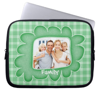 Whimsical Green Plaid Family Photo Laptop Sleeve