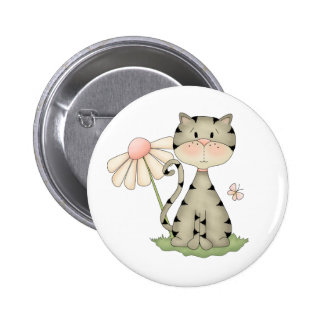 Whimsical Grey and Black Kitty with Flower Button