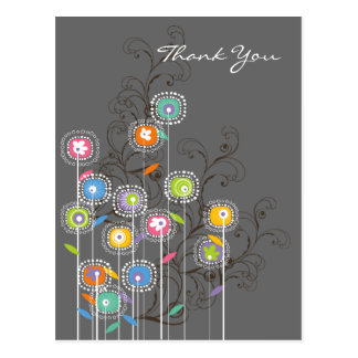 Whimsical Groovy Flower Garden Wedding Thank You Post Cards