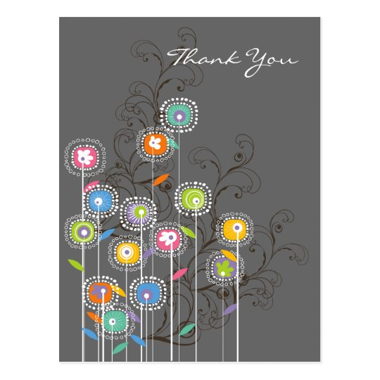 Whimsical Groovy Flower Garden Wedding Thank You Postcard