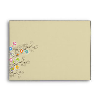 Whimsical Groovy Flowers Garden Party Envelope