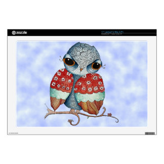 """Whimsical Grumpy Owl 17"""" for Mac and Pc Skin Decals For 17"""" Laptops"""