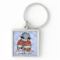 Whimsical Grumpy Owl Customizable Key Chain