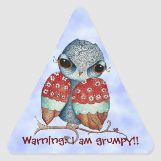 Whimsical Grumpy Owl Funny Stickers