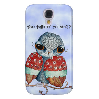 Whimsical Grumpy Owl HTC Vivid Tough Case Galaxy S4 Covers