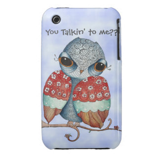 Whimsical Grumpy Owl iPhone 3/3GS Case