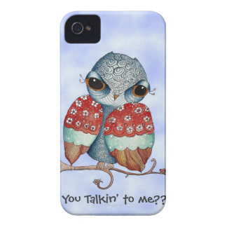 Whimsical Grumpy Owl iPhone 4 Case