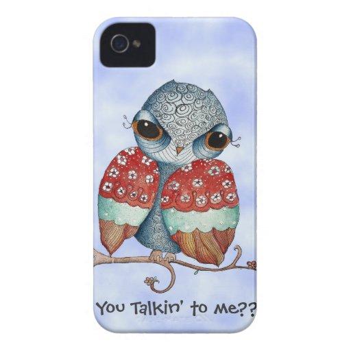 Whimsical Grumpy Owl iPhone 4 Case