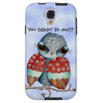 Whimsical Grumpy Owl Samsung Galaxy S4 Case