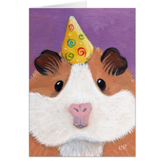 Whimsical Guinea Pig in a Party Hat Illustration Card