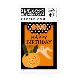Whimsical Halloween Birthday Postage Stamps