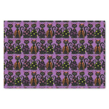 Halloween Themed Whimsical Halloween Cats Pattern Tissue Paper