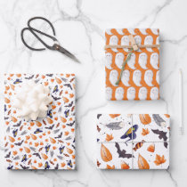 Whimsical Halloween Pattern Wrapping Paper Sheets