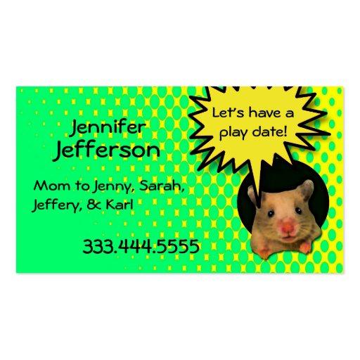 Whimsical Hamster Custom Mommy Card Business Card