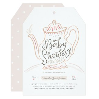 Whimsical Hand-drawn Baby Tea Party Pink Invitation
