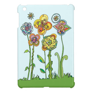 Whimsical, hand drawn flowers cover for the iPad mini