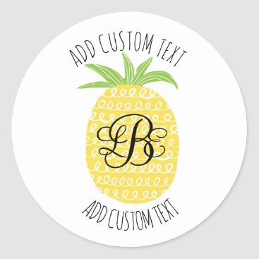 Professional Business Whimsical Hand-drawn Pineapple Monogrammed Classic Round Sticker