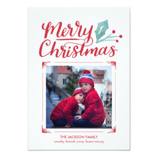 Whimsical Hand Lettered Christmas Photo 5x7 Paper Invitation Card