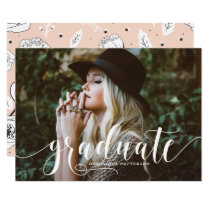 Whimsical Hand Lettered Script Photo Graduation Invitation