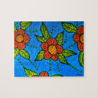 Whimsical hand-painted Red Flowers Jigsaw Puzzle