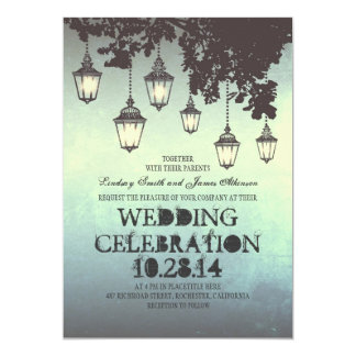 Whimsical hanging lamp lights wedding invitations