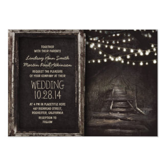 Whimsical hanging lights tree path rustic wedding 5x7 paper invitation card