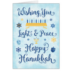 Whimsical Hanukkah Light and Peace Card at Zazzle