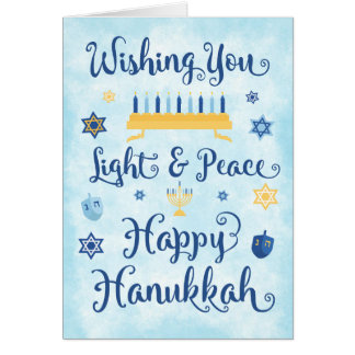 Whimsical Hanukkah Light and Peace Card