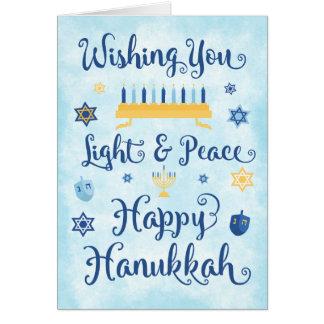 Whimsical Hanukkah Light and Peace Card