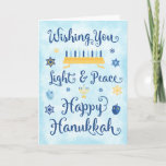 """Whimsical Hanukkah Light and Peace Holiday Card<br><div class=""""desc"""">A Jewish Hanukkah theme card with a menorah,  Star of David and Driedel.  The text reads Wishing You Light & Peace Happy Hanukkah.  The background is a light blue watercolor wash.  Personalize the inside with your own message and/or company logo.</div>"""